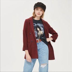 Topshop Red Check Jersey Blazer
